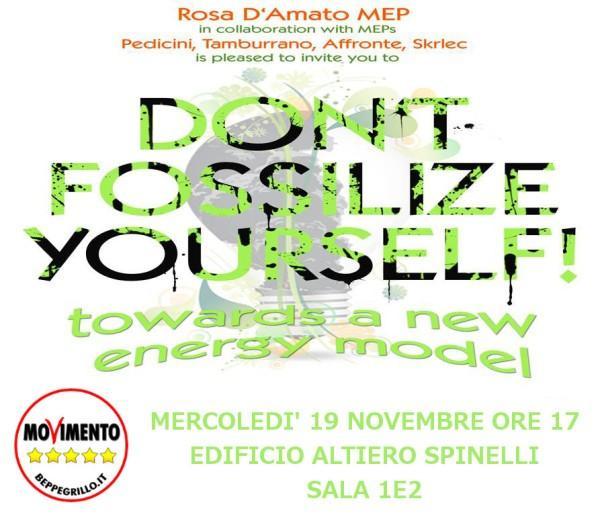 """BRUXELLES 19 Novembre dalle 17 in streaming """"Non fossilizziamoci! Verso un nuovo modello energetico"""""""