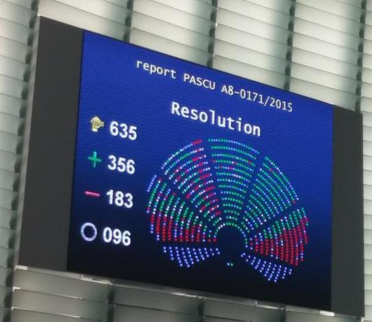 Risultati 11 giugno 2015 del voto su Risoluzione Pascu