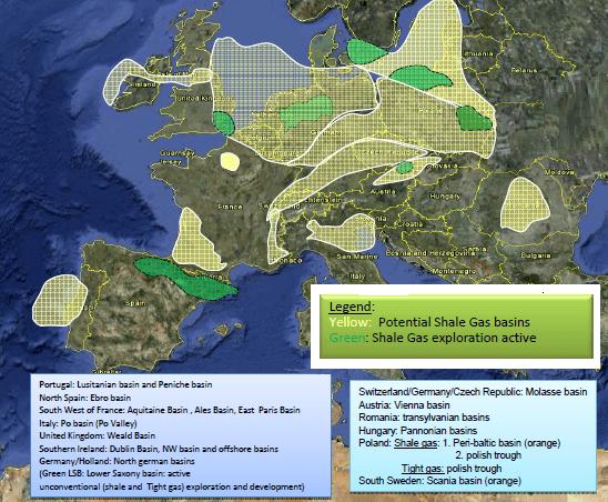 mappa dello shale gas in europa