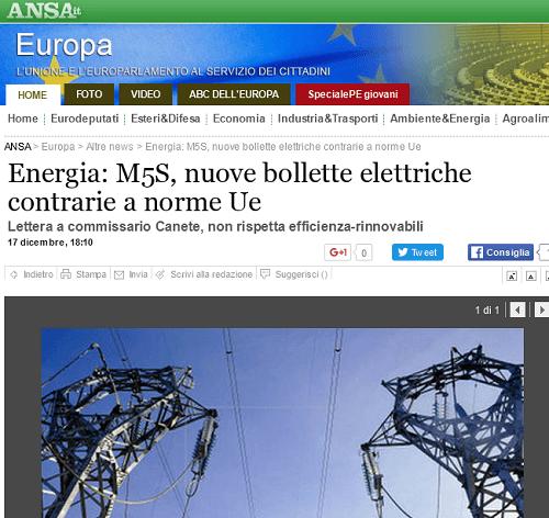 Governo Renzi vs rinnovabili. Il M5S segnala a Commissione Europea la nuova bolletta elettrica