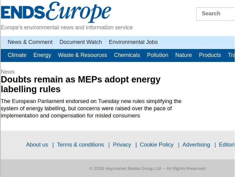 Doubts remain as MEPs adopt energy labelling rules
