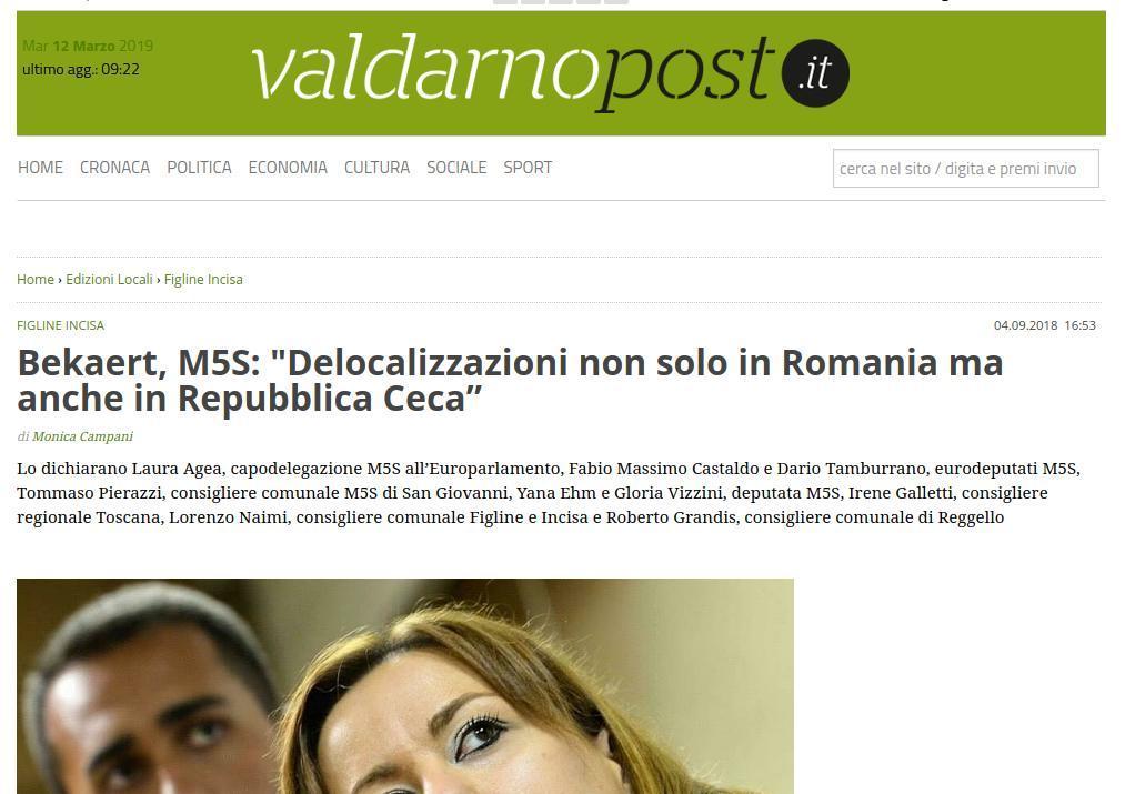 """Bekaert, M5S: """"Delocalizzazioni non solo in Romania ma anche in Repubblica Ceca"""""""