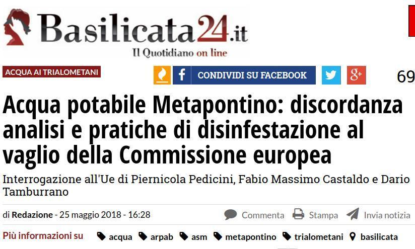 Acqua potabile Metapontino: discordanza analisi e pratiche di disinfestazione al vaglio della Commissione europea