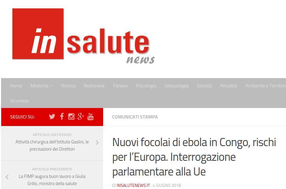 Nuovi focolai di ebola in Congo, rischi per l'Europa. Interrogazione parlamentare alla Ue
