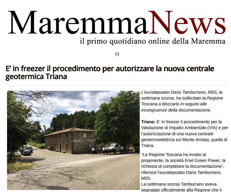 E' in freezer il procedimento per autorizzare la nuova centrale geotermica Triana