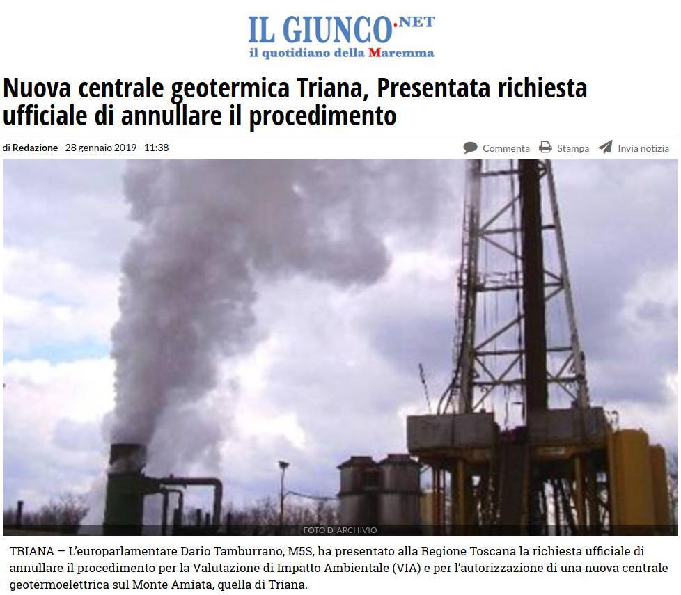 Nuova centrale geotermica Triana, Presentata richiesta ufficiale di annullare il procediment