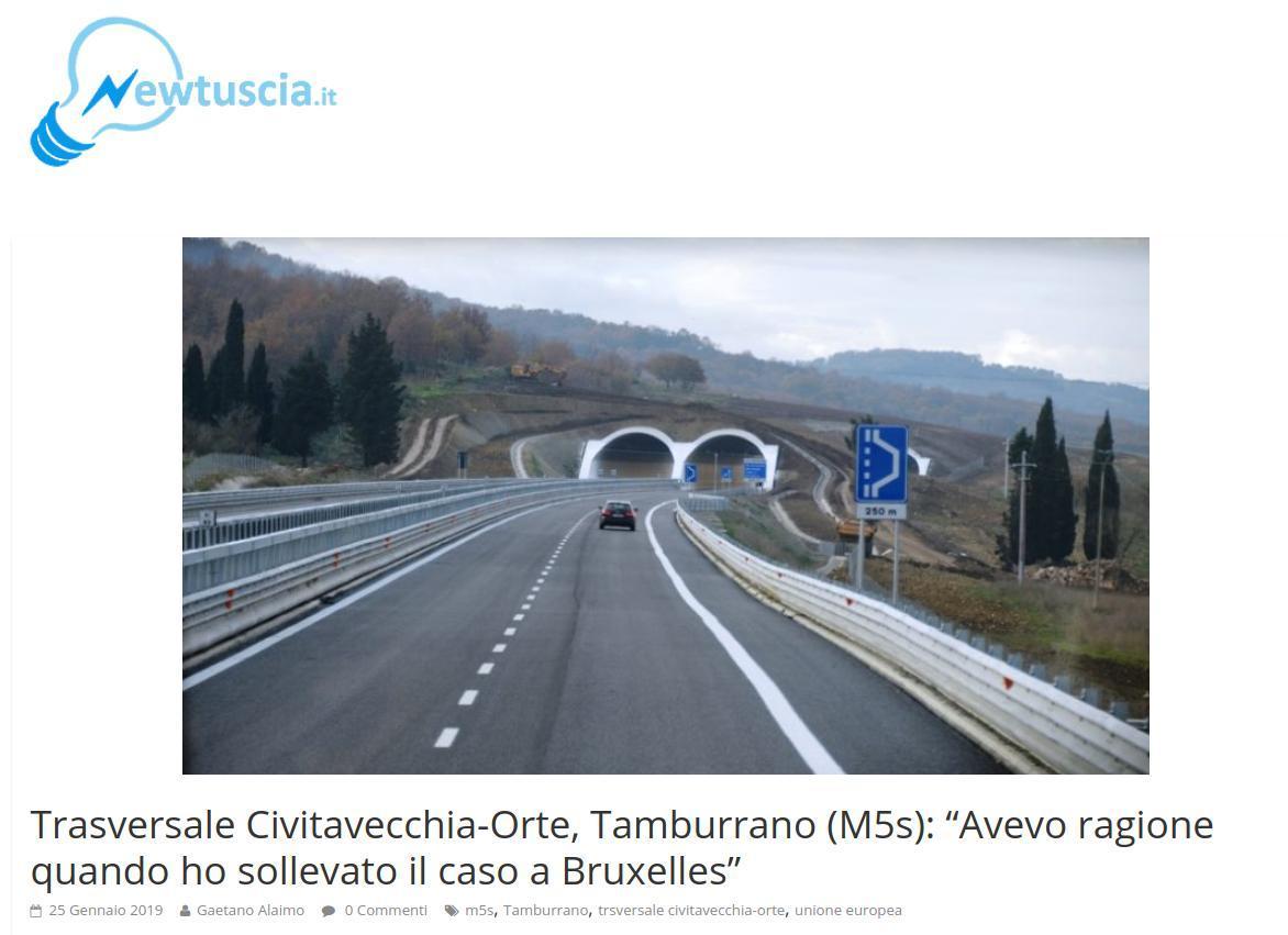 """Trasversale Civitavecchia-Orte, Tamburrano (M5s): """"Avevo ragione quando ho sollevato il caso a Bruxelle"""