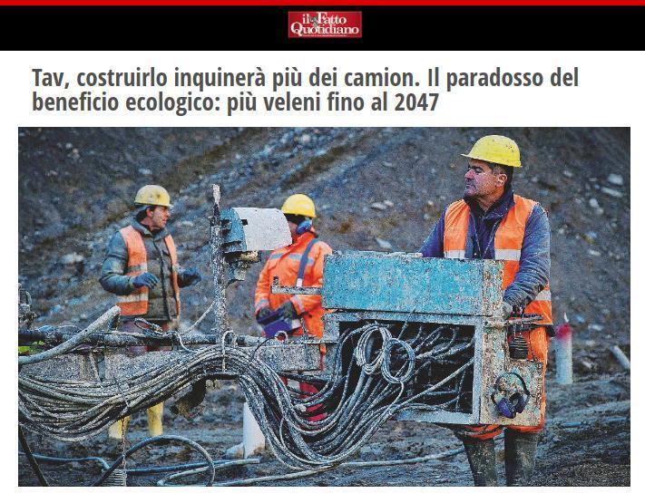 Tav, costruirlo inquinerà più dei camion. Il paradosso del beneficio ecologico: più veleni fino al 2047.