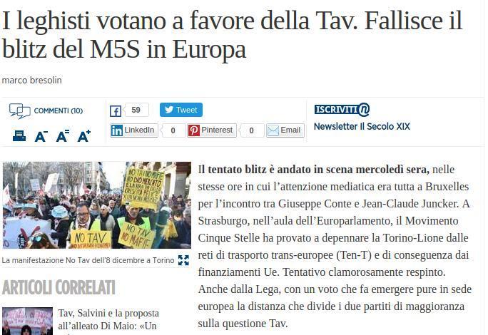 I leghisti votano a favore della Tav. Fallisce il blitz del M5S in Europa
