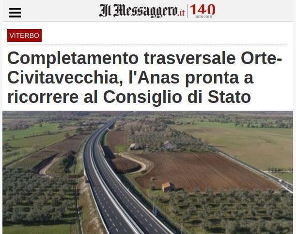 Completamento trasversale Orte-Civitavecchia, l'Anas pronta a ricorrere al Consiglio di Stato