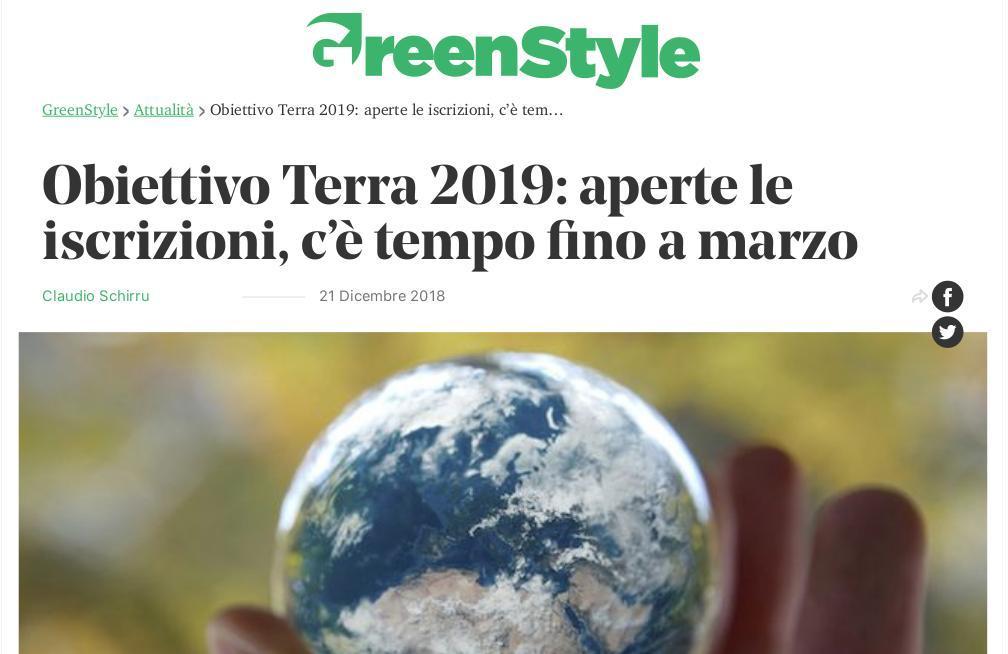 Obiettivo Terra 2019: aperte le iscrizioni, c'è tempo fino a marzo