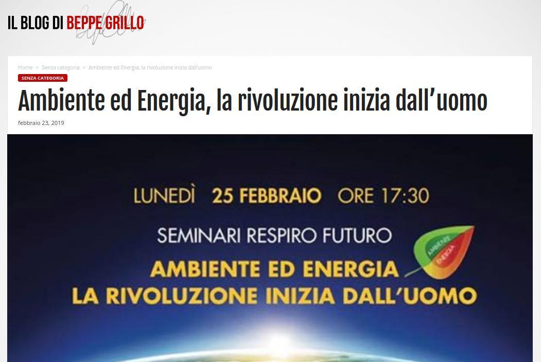 Ambiente ed Energia, la rivoluzione inizia dall'uomo