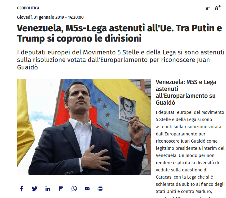 Venezuela, M5s-Lega astenuti all'Ue. Tra Putin e Trump si coprono le divisioni