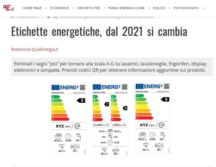Etichette energetiche, dal 2021 si cambia