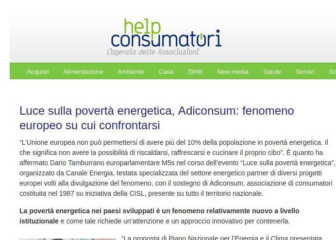Luce sulla povertà energetica, Adiconsum: fenomeno europeo su cui confrontarsi