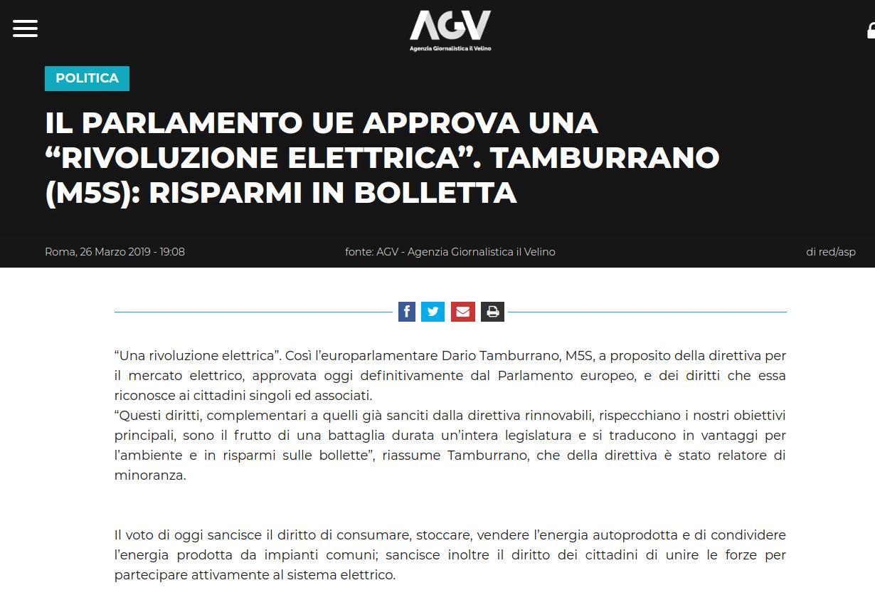 """POLITICAIL PARLAMENTO UE APPROVA UNA """"RIVOLUZIONE ELETTRICA"""". TAMBURRANO (M5S): RISPARMI IN BOLLETTA"""