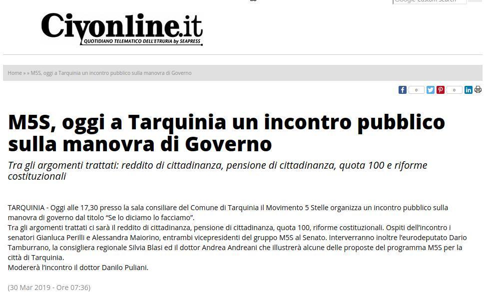 M5S, oggi a Tarquinia un incontro pubblico sulla manovra di Governo