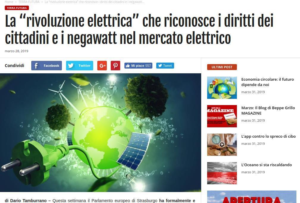 """La """"rivoluzione elettrica"""" che riconosce i diritti dei cittadini e i negawatt nel mercato elettrico"""