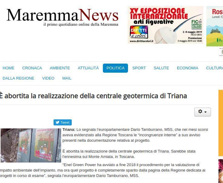 È abortita la realizzazione della centrale geotermica di Triana