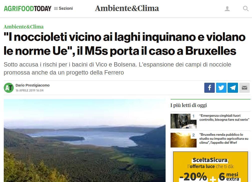 I noccioleti vicino ai laghi inquinano e violano le norme Ue