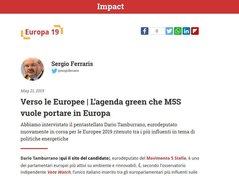 Verso le Europee, L'agenda green che M5S vuole portare in Europa
