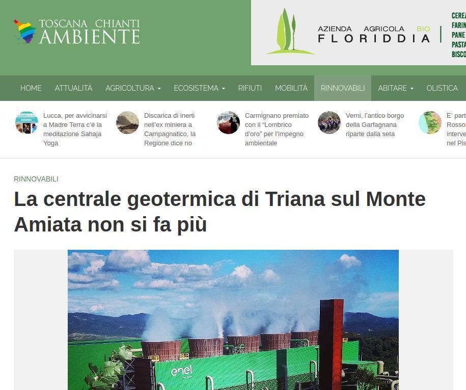 RINNOVABILI La centrale geotermica di Triana sul Monte Amiata non si fa più