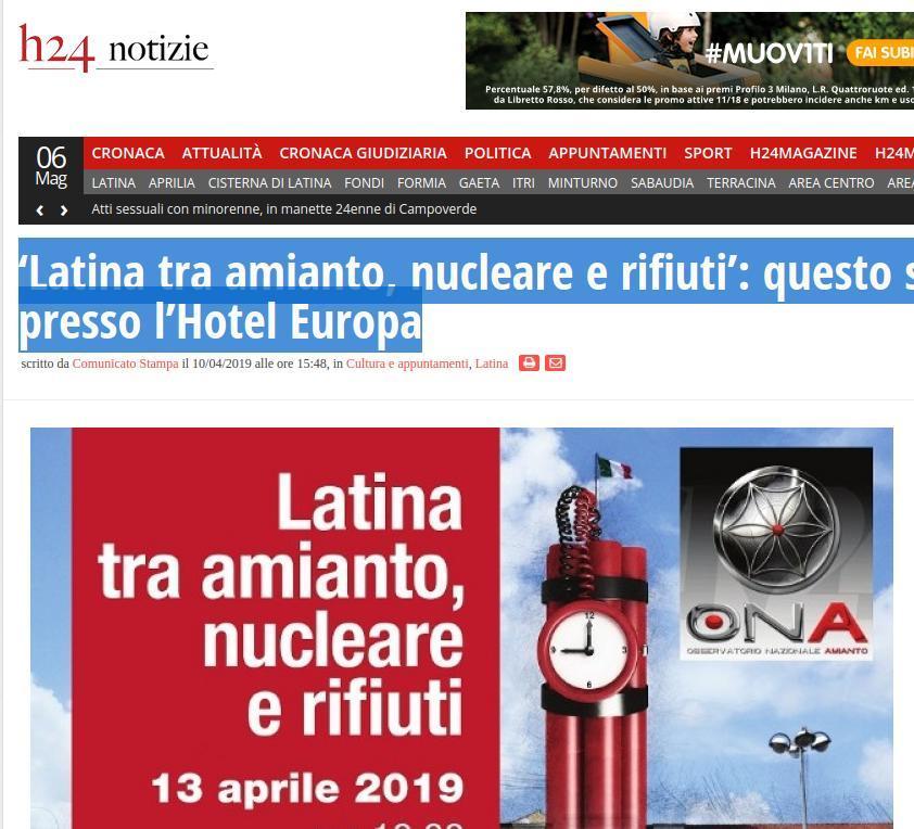 Latina tra amianto, nucleare e rifiuti: questo sabato l'incontro presso l'Hotel Europa
