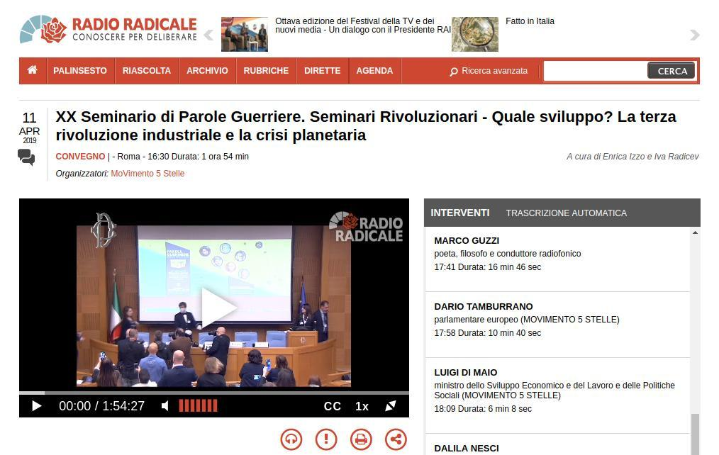 XX Seminario di Parole Guerriere Quale sviluppo? La terza rivoluzione industriale e la crisi planetaria
