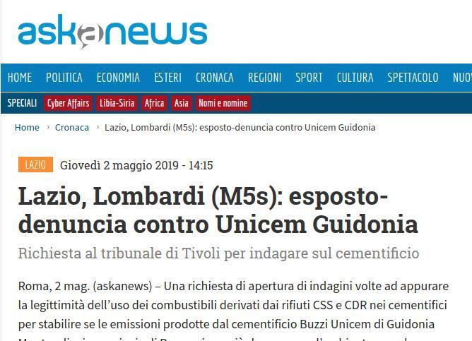 Lazio, Lombardi (M5s): esposto-denuncia contro Unicem Guidonia