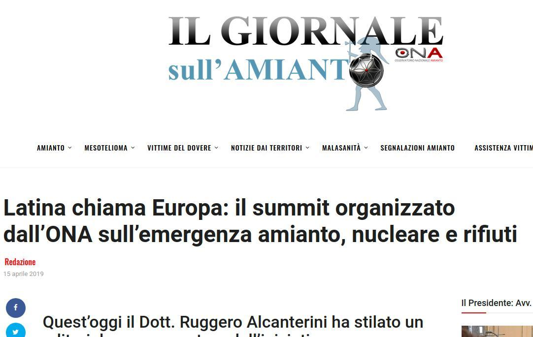 Latina chiama Europa: il summit organizzato dall'ONA sull'emergenza amianto, nucleare e rifiuti