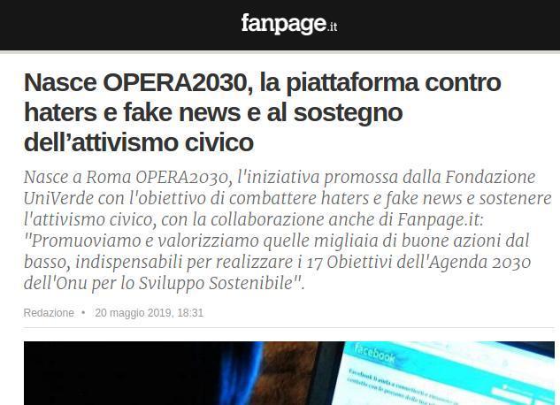 Nasce OPERA2030, la piattaforma contro haters e fake news e al sostegno dell'attivismo civico