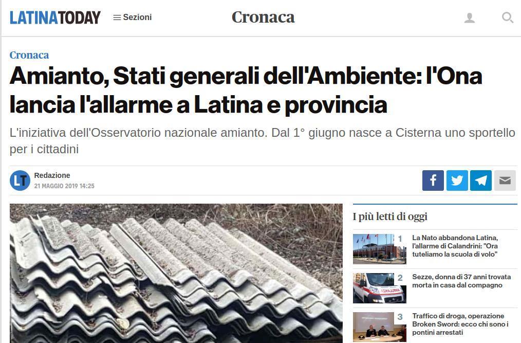 Amianto, Stati generali dell'Ambiente: l'Ona lancia l'allarme a Latina e provincia