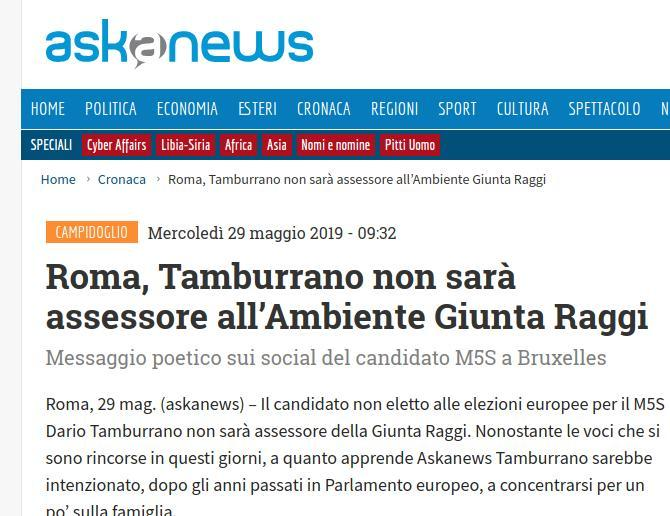 Roma, Tamburrano non sarà assessore all'Ambiente Giunta Raggi